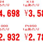 本日の金、プラチナ買取情報!過去最高額!!